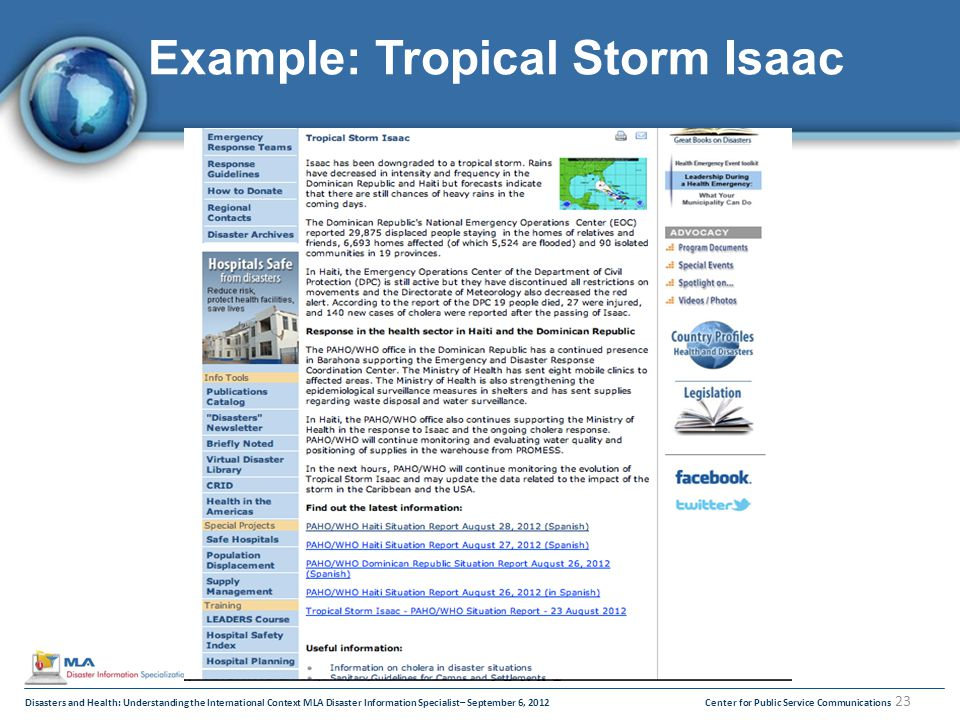 Disasters and Health: Understanding the International Context MLA Disaster Information Specialist– September 6, 2012Center for Public Service Communications 23 Example: Tropical Storm Isaac