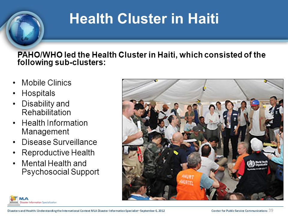 39 Center for Public Service CommunicationsDisasters and Health: Understanding the International Context MLA Disaster Information Specialist– September 6, 2012 Health Cluster in Haiti PAHO/WHO led the Health Cluster in Haiti, which consisted of the following sub-clusters: Mobile Clinics Hospitals Disability and Rehabilitation Health Information Management Disease Surveillance Reproductive Health Mental Health and Psychosocial Support