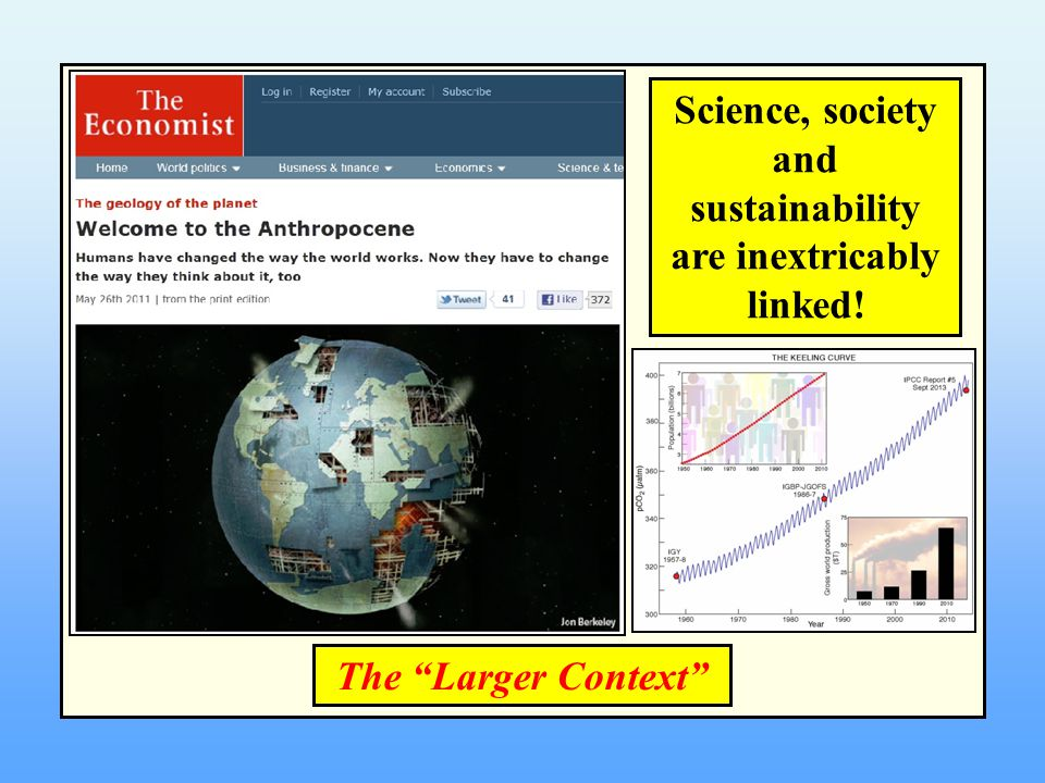 Science, society and sustainability are inextricably linked! The Larger Context
