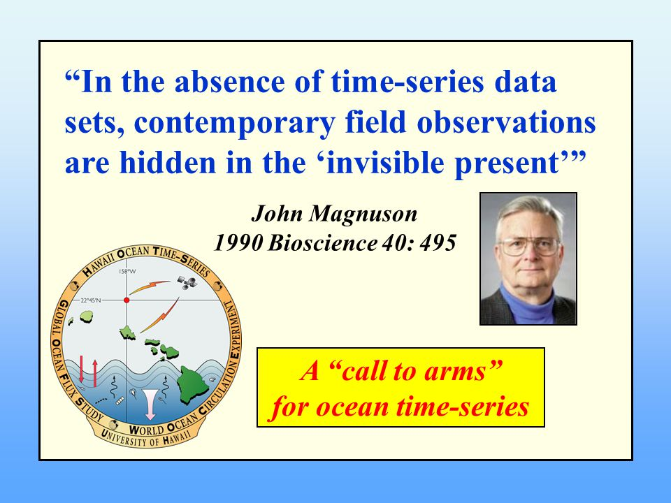 In the absence of time-series data sets, contemporary field observations are hidden in the 'invisible present' John Magnuson 1990 Bioscience 40: 495 A call to arms for ocean time-series