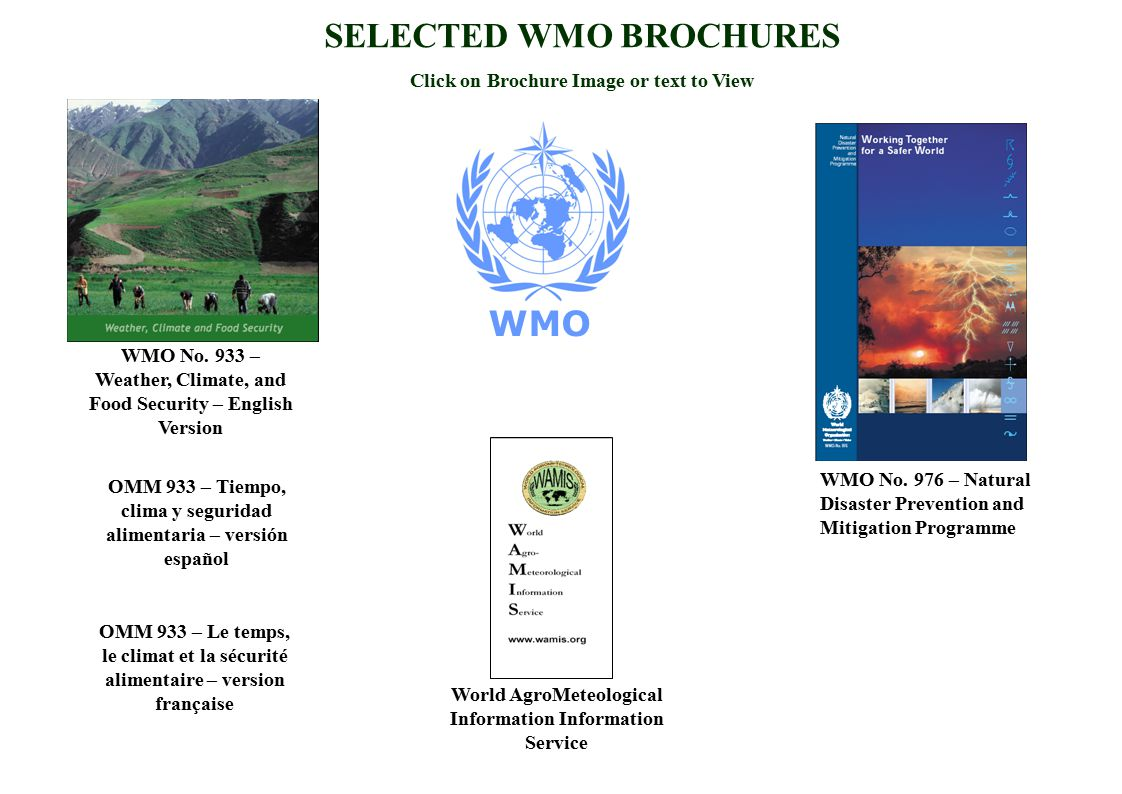 SELECTED WMO BROCHURES Click on Brochure Image or text to View WMO No. 976 – Natural Disaster Prevention and Mitigation Programme WMO No. 933 – Weathe