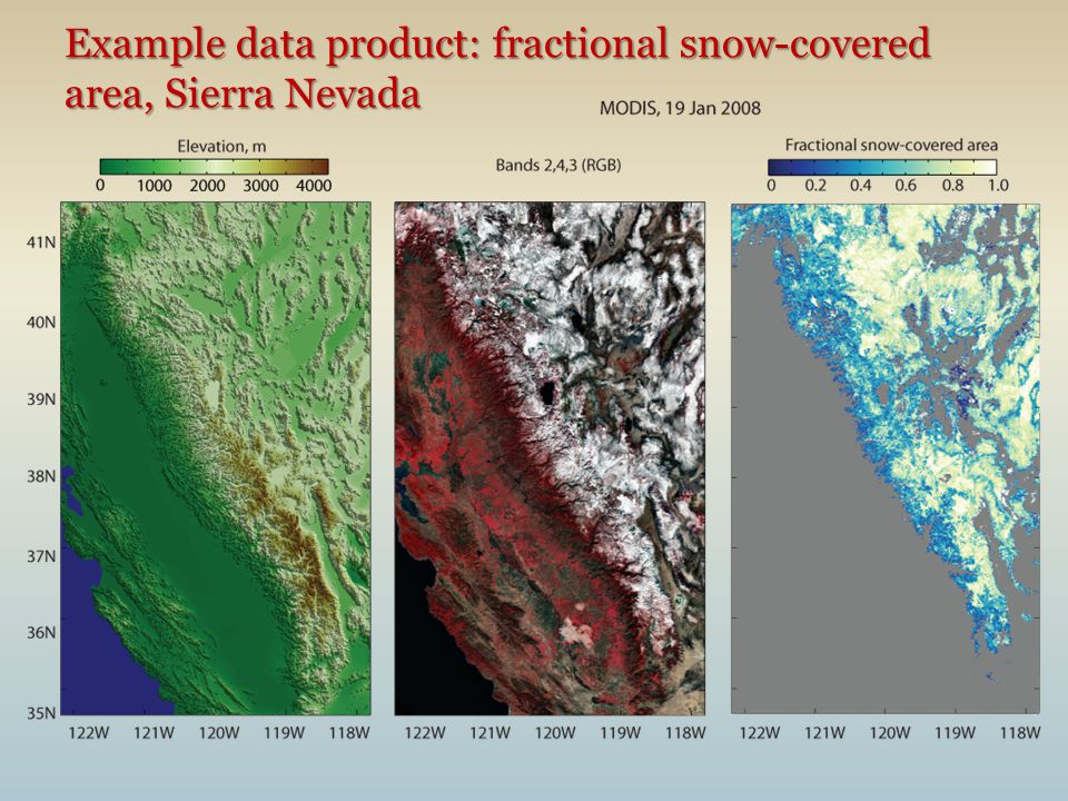 Example data product: fractional snow-covered area, Sierra Nevada