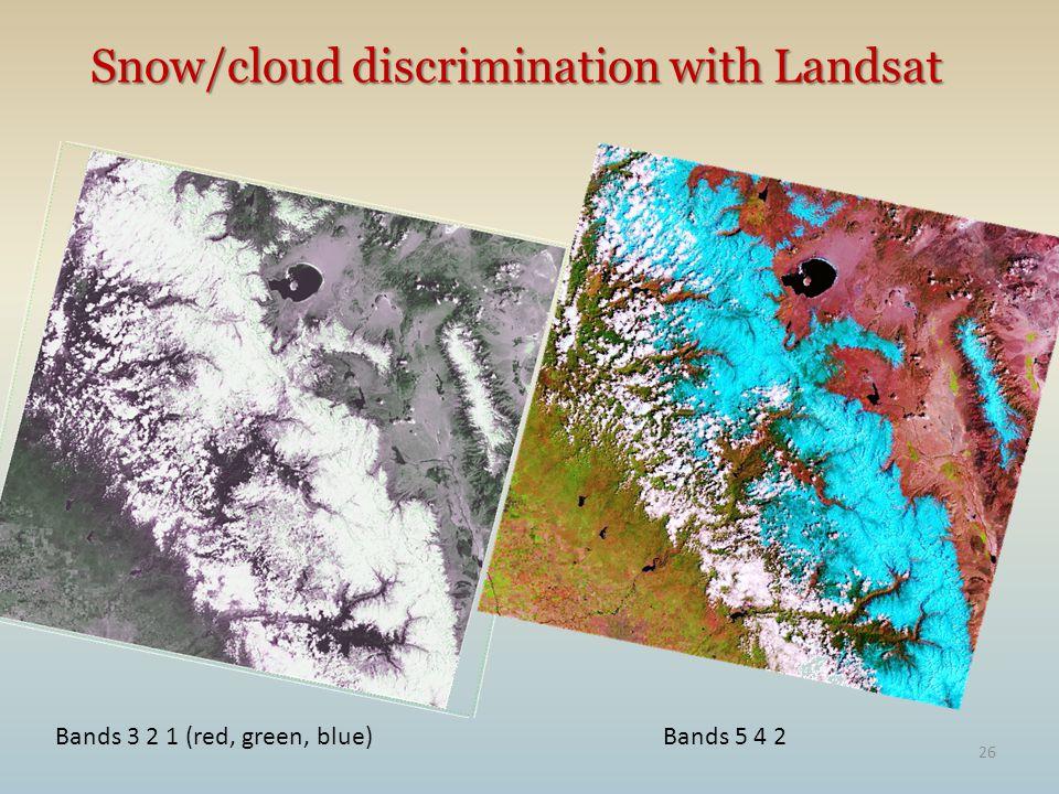 26 Snow/cloud discrimination with Landsat Bands 3 2 1 (red, green, blue)Bands 5 4 2