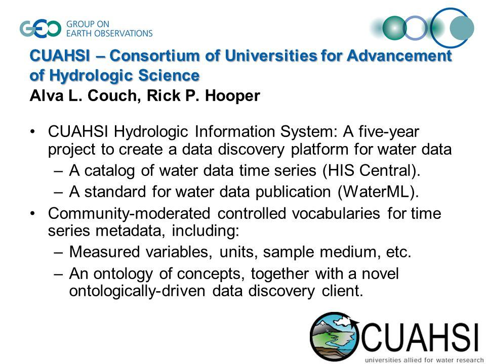 CUAHSI – Consortium of Universities for Advancement of Hydrologic Science Alva L.