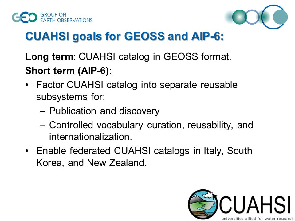 CUAHSI goals for GEOSS and AIP-6: Long term: CUAHSI catalog in GEOSS format.