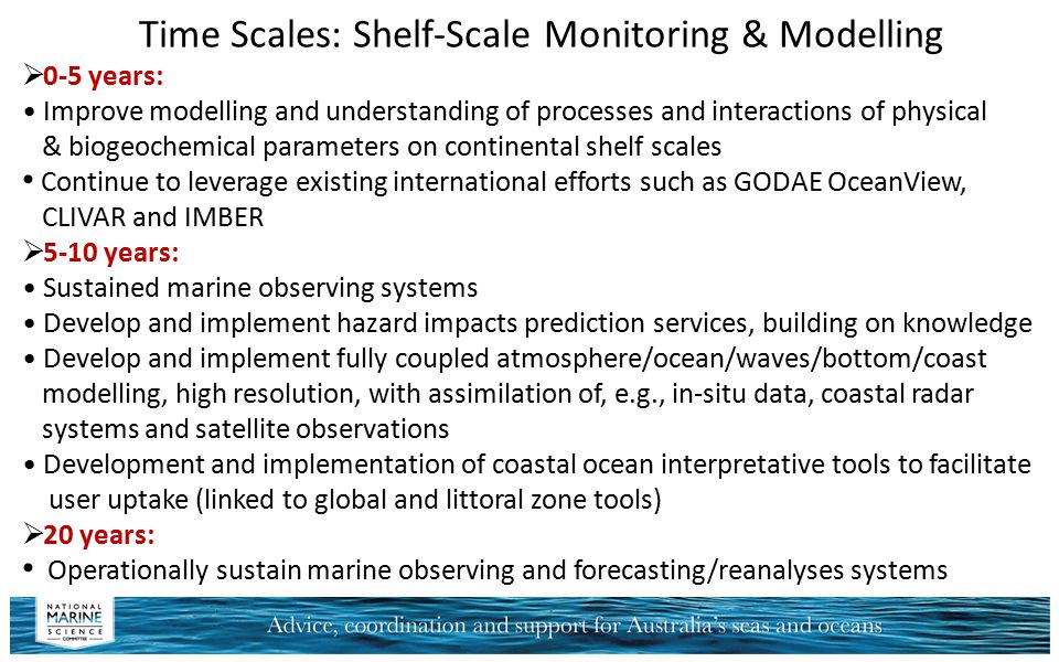 Time Scales: Shelf-Scale Monitoring & Modelling  0-5 years: Improve modelling and understanding of processes and interactions of physical & biogeoche