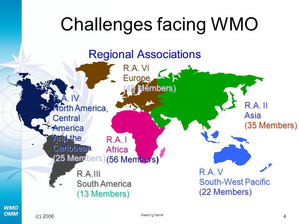 4 Meeting Name (c) 2006 Challenges facing WMO
