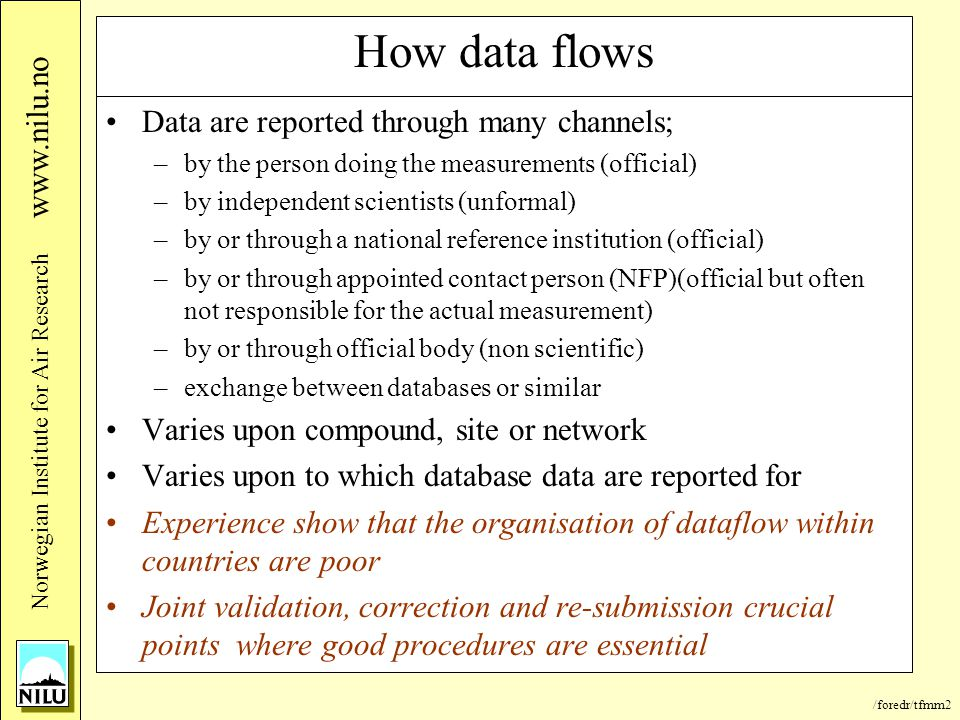 /foredr/tfmm2 Nor wegian Institute for Air Research www.nilu.no How data flows Data are reported through many channels; –by the person doing the measu