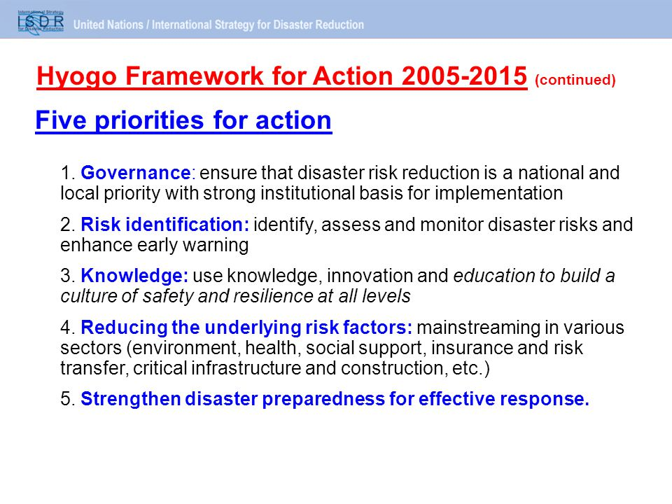 Five priorities for action 1.