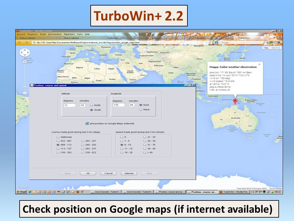 Check position on Google maps (if internet available) TurboWin+ 2.2