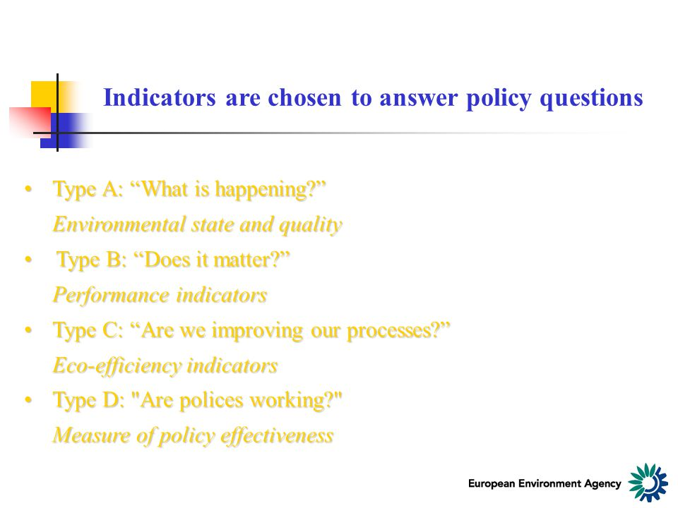 Indicators are chosen to answer policy questions Type A: What is happening Type A: What is happening Environmental state and quality Type B: Does it matter Type B: Does it matter Performance indicators Type C: Are we improving our processes Type C: Are we improving our processes Eco-efficiency indicators Type D: Are polices working Type D: Are polices working Measure of policy effectiveness