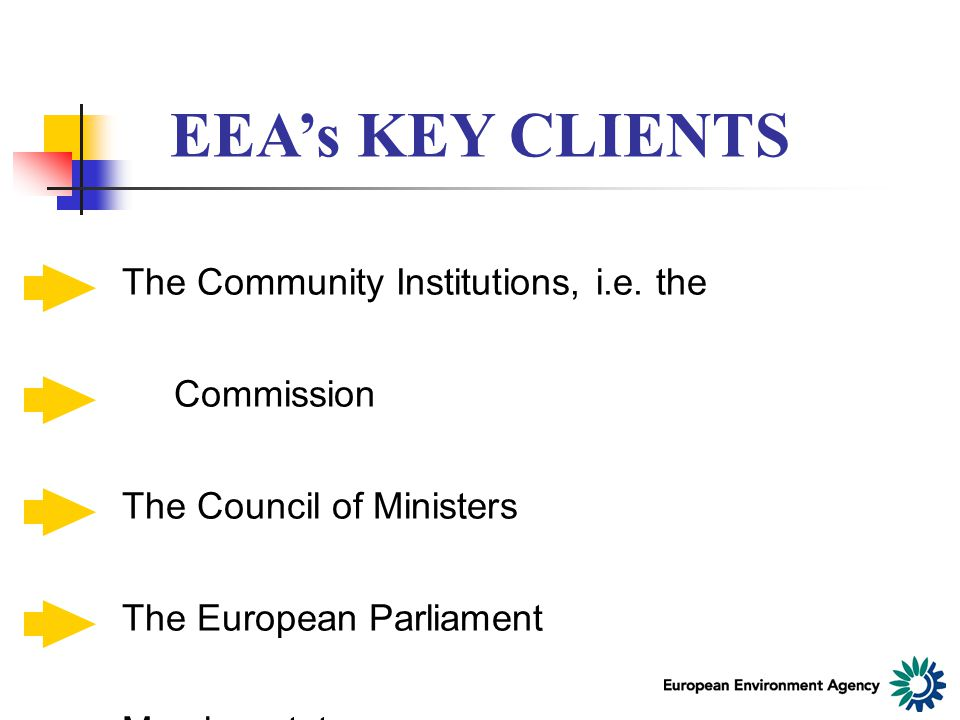 EEA's KEY CLIENTS The Community Institutions, i.e.