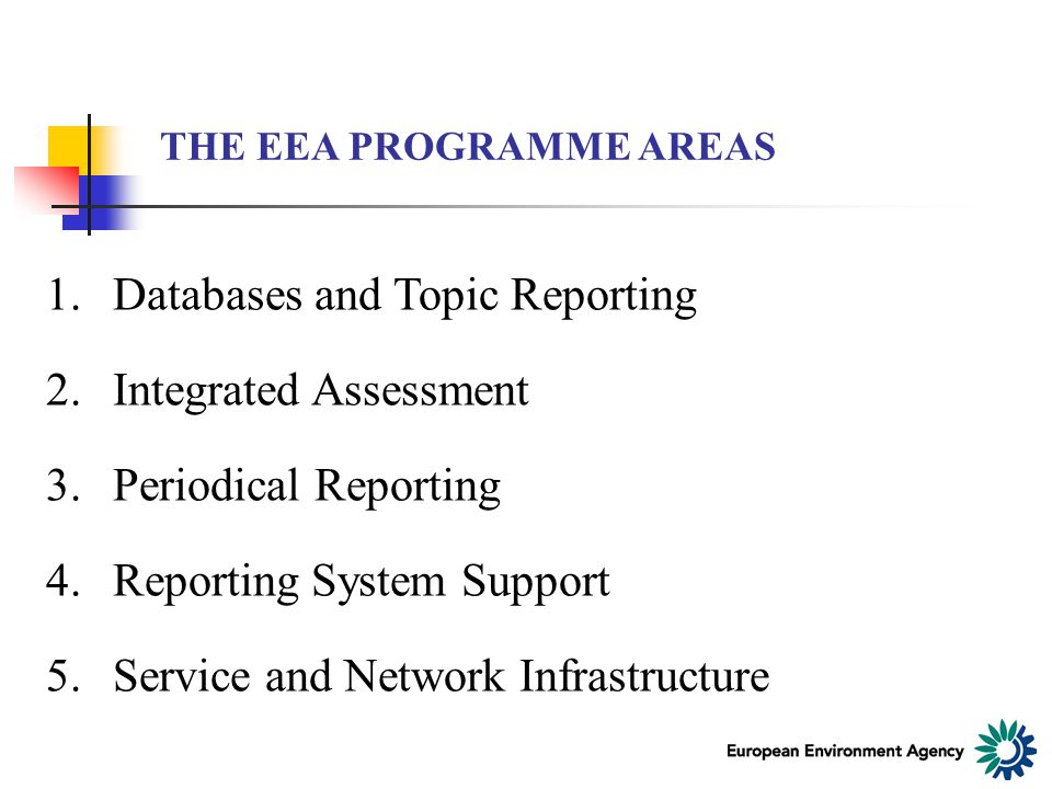 THE EEA PROGRAMME AREAS 1.Databases and Topic Reporting 2.Integrated Assessment 3.Periodical Reporting 4.Reporting System Support 5.Service and Network Infrastructure
