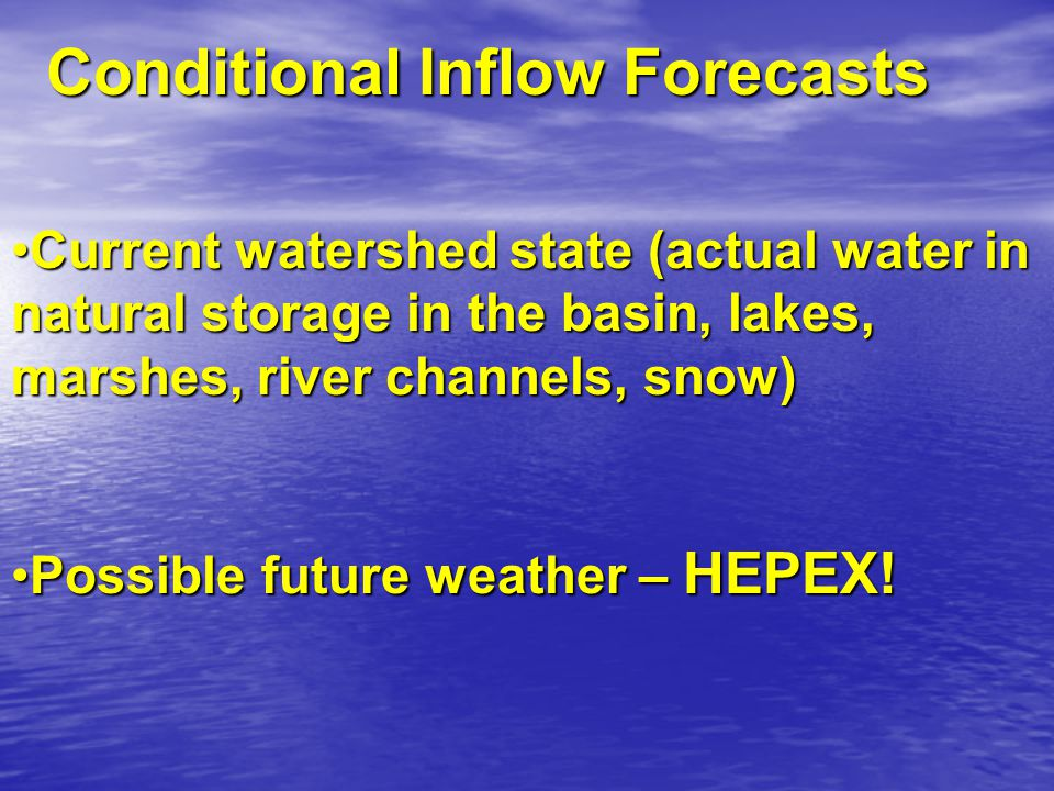 The inputs are weekly hydrologic ensemble forecasts and current energy price estimates.