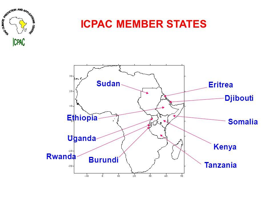 ICPAC MEMBER STATES Sudan Djibouti Ethiopia Eritrea Somalia Kenya Burundi Rwanda Uganda Tanzania