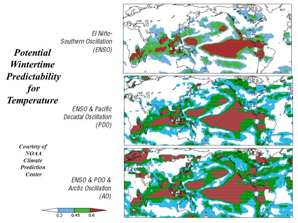 Potential Wintertime Predictability for Temperature Courtesy of NOAA Climate Prediction Center