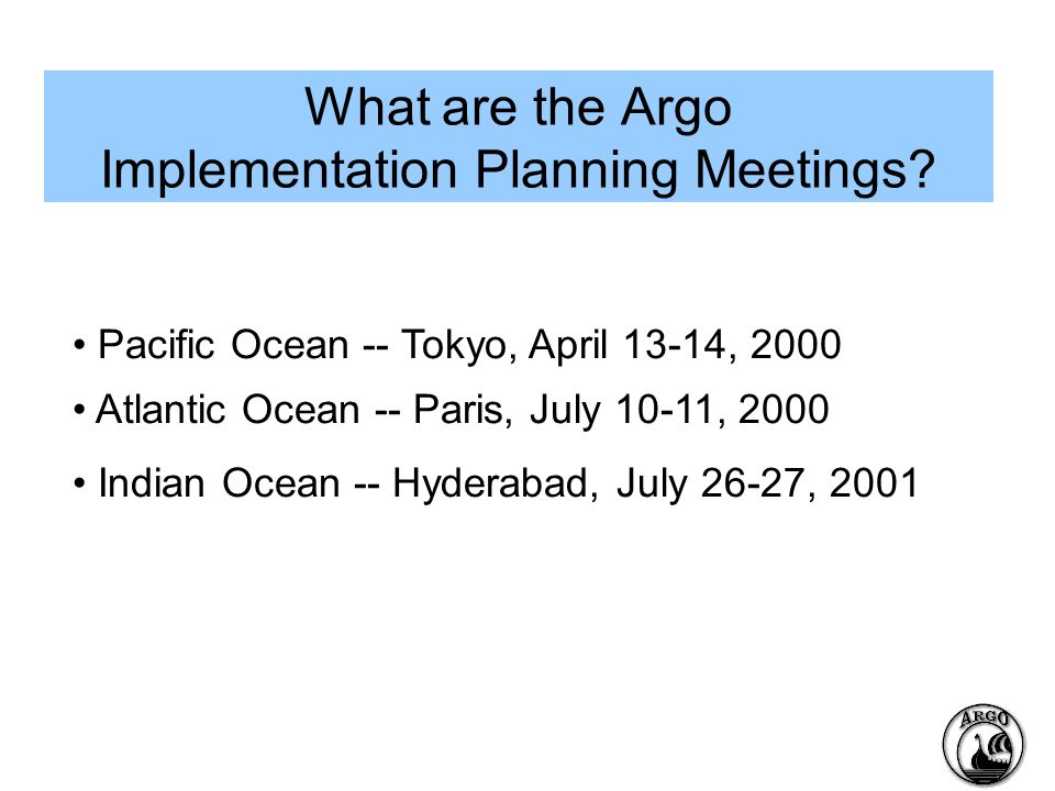 What are the Argo Implementation Planning Meetings.