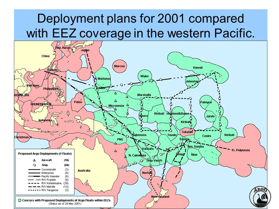 Deployment plans for 2001 compared with EEZ coverage in the western Pacific.