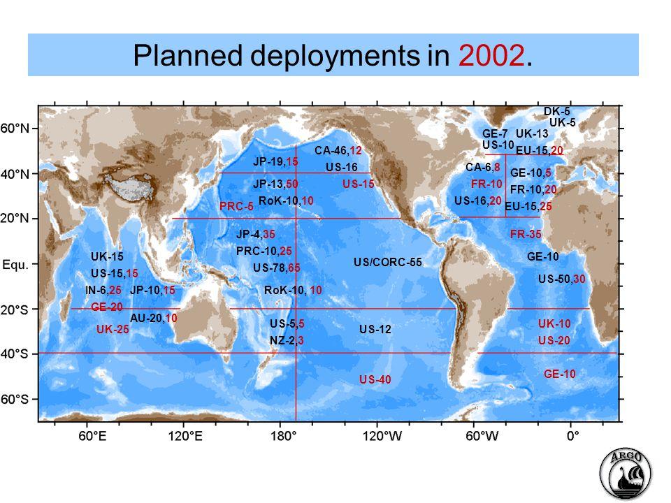 Planned deployments in 2002.