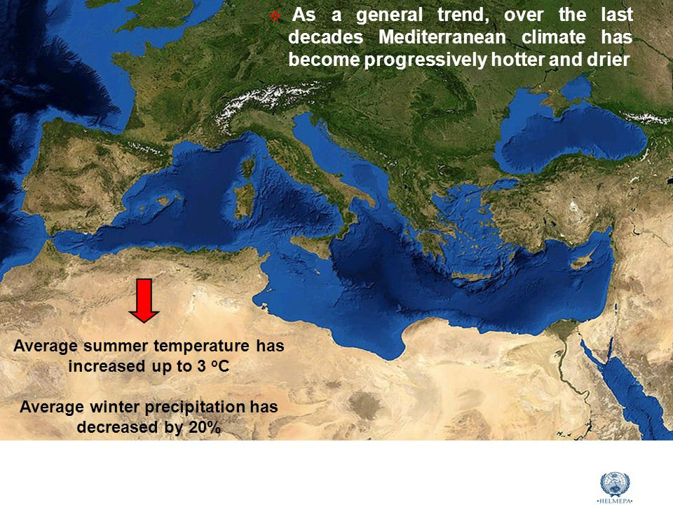 Marine Environmental Awareness Course  As a general trend, over the last decades Mediterranean climate has become progressively hotter and drier Average summer temperature has increased up to 3 ο C Average winter precipitation has decreased by 20%