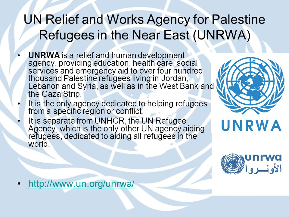 UN Relief and Works Agency for Palestine Refugees in the Near East (UNRWA) UNRWA is a relief and human development agency, providing education, health