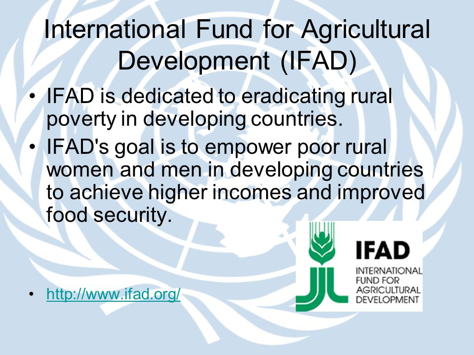 International Fund for Agricultural Development (IFAD) IFAD is dedicated to eradicating rural poverty in developing countries. IFAD's goal is to empow
