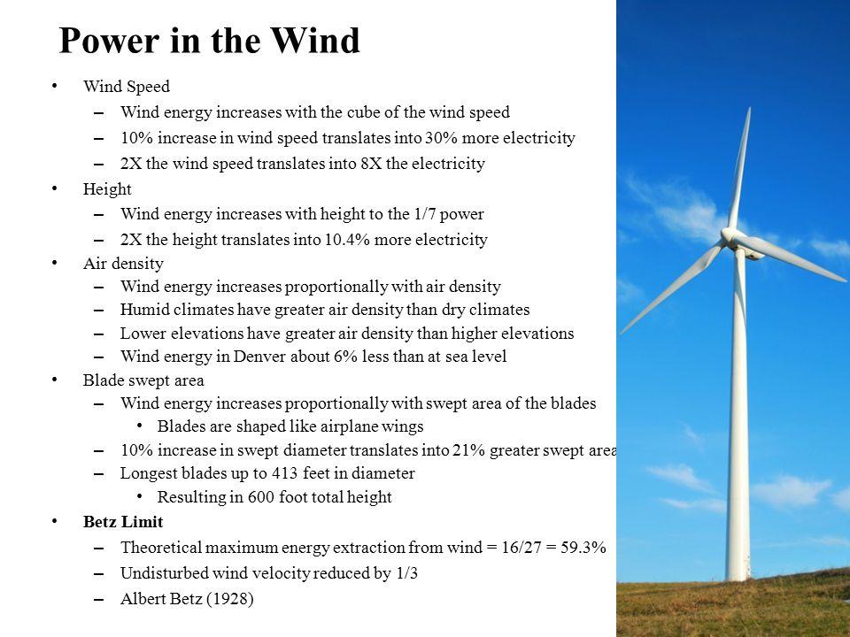 Wind Turbine Spec. Rated Cut-in