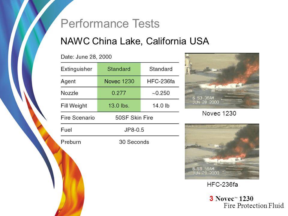 3 Novec ™ 1230 Fire Protection Fluid Novec 1230 HFC-236fa NAWC China Lake, California USA Novec 1230 HFC-236fa Performance Tests