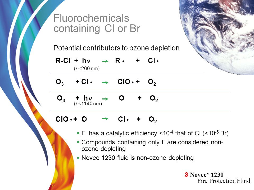 3 Novec ™ 1230 Fire Protection Fluid  F has a catalytic efficiency <10 -4 that of Cl (<10 -5 Br)  Compounds containing only F are considered non- oz