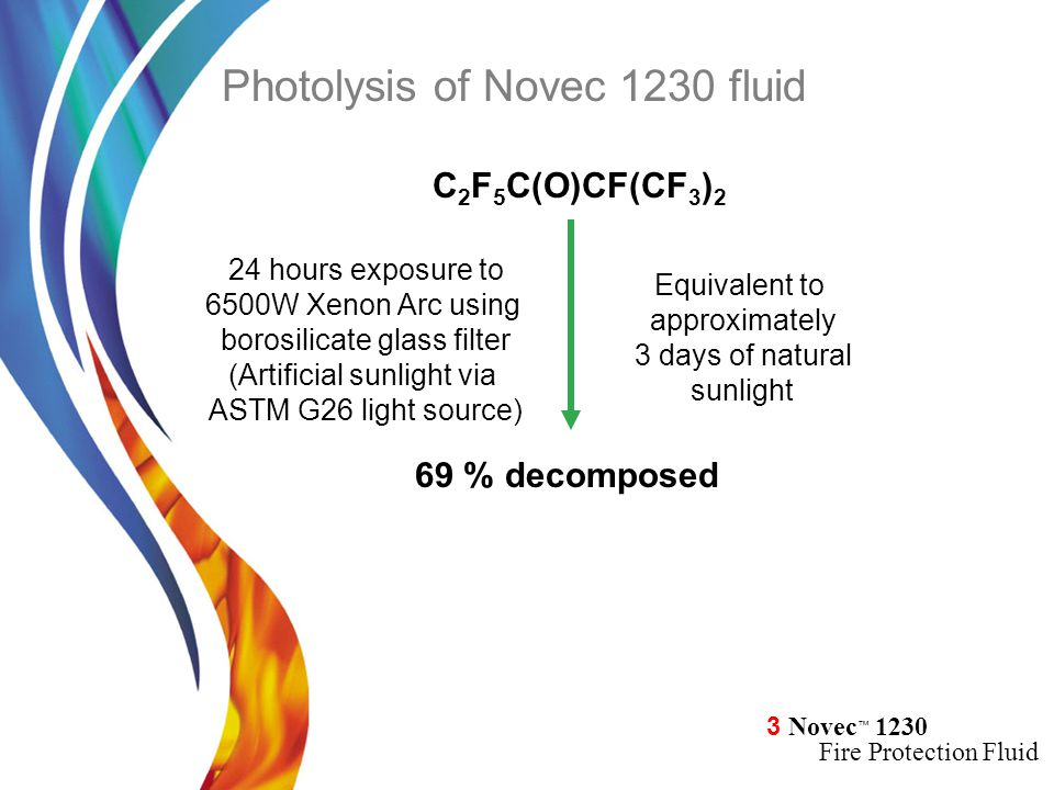 3 Novec ™ 1230 Fire Protection Fluid 24 hours exposure to 6500W Xenon Arc using borosilicate glass filter (Artificial sunlight via ASTM G26 light sour