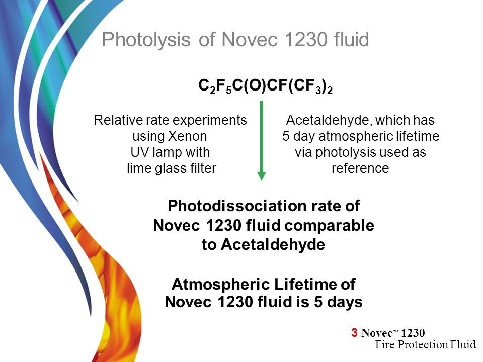 3 Novec ™ 1230 Fire Protection Fluid Relative rate experiments using Xenon UV lamp with lime glass filter Photodissociation rate of Novec 1230 fluid c