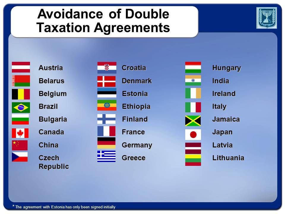 Avoidance of Double Taxation Agreements AustriaBelarusBelgiumBrazilBulgariaCanadaChina Czech Republic CroatiaDenmarkEstoniaEthiopiaFinlandFranceGermanyGreeceHungaryIndiaIrelandItalyJamaicaJapanLatviaLithuania * The agreement with Estonia has only been signed initially