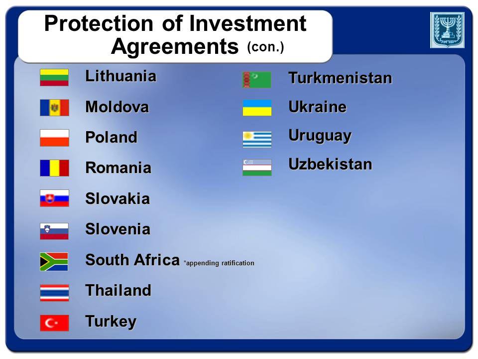TurkmenistanUkraineUruguayUzbekistan Protection of Investment Agreements (con.) LithuaniaMoldovaPolandRomaniaSlovakiaSlovenia South Africa *appending ratification ThailandTurkey