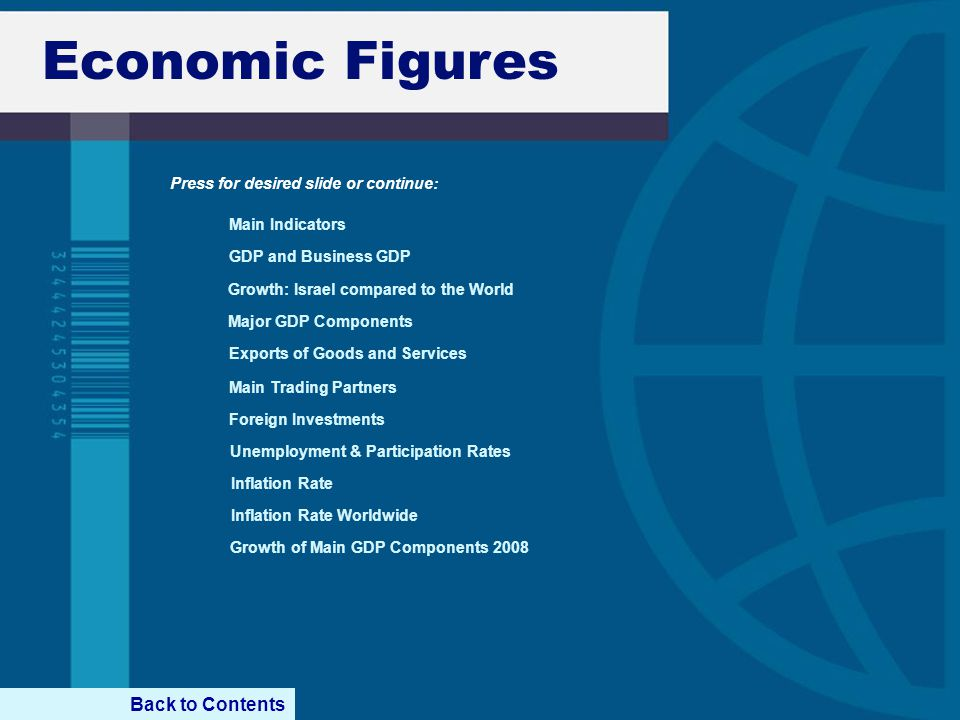 Economic Figures GDP and Business GDP Major GDP Components Growth: Israel compared to the World Exports of Goods and Services Foreign Investments Unem