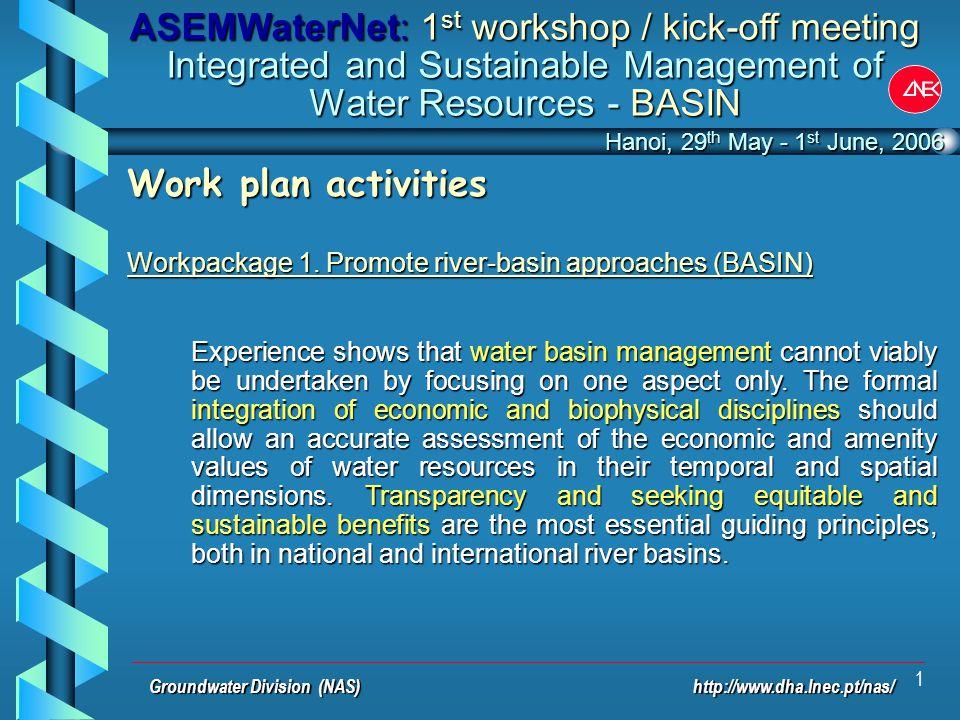 1 Work plan activities Workpackage 1.