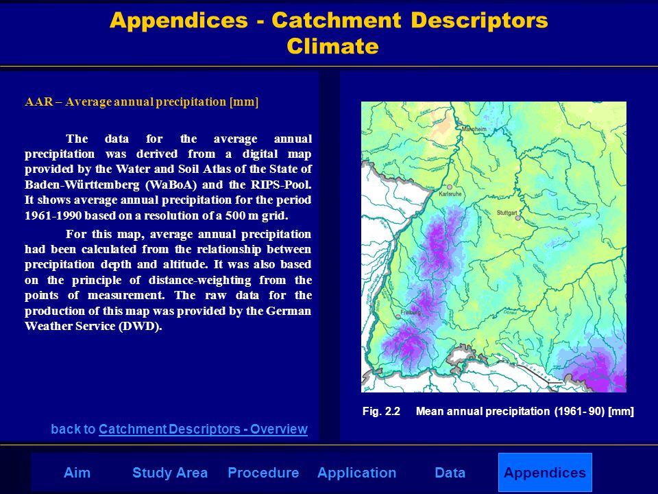 AppendicesAimDataStudy AreaProcedureApplication AAR – Average annual precipitation [mm] The data for the average annual precipitation was derived from