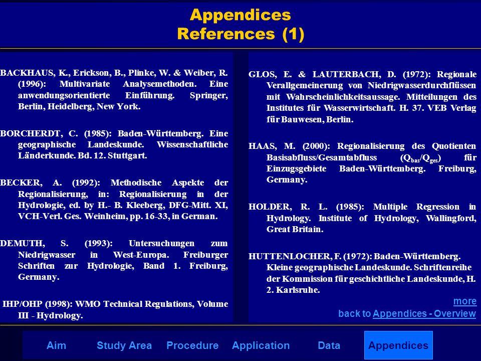 AimDataStudy AreaProcedureApplication Appendices References (1) BACKHAUS, K., Erickson, B., Plinke, W. & Weiber, R. (1996): Multivariate Analysemethod