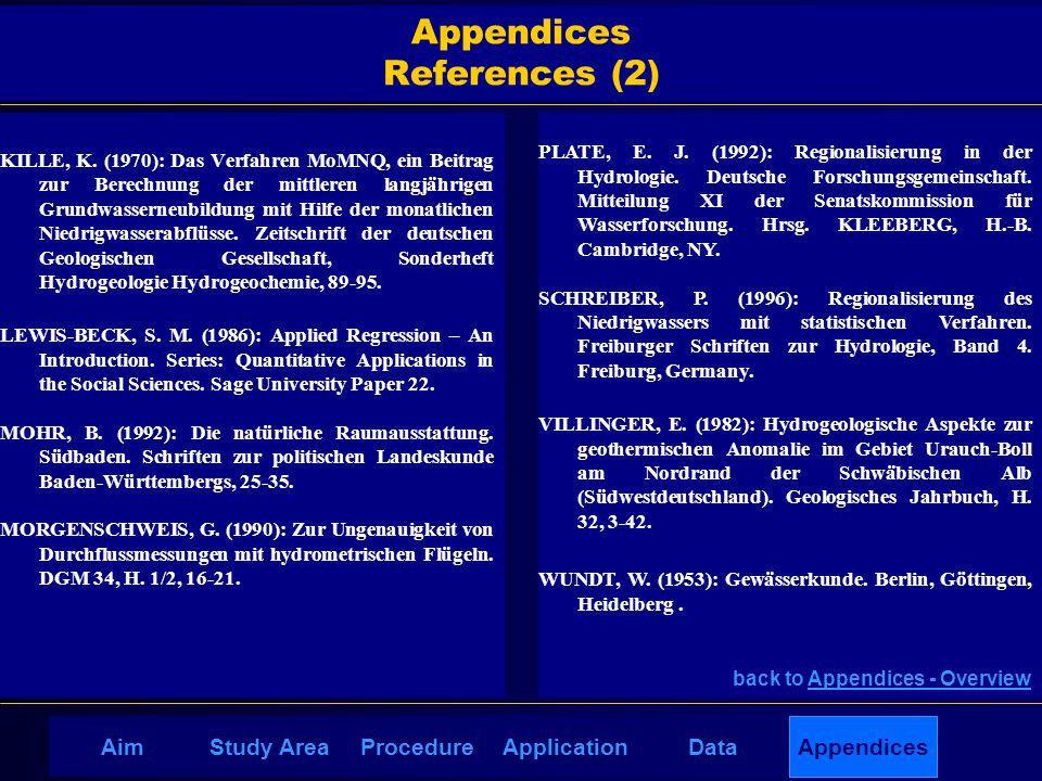 AppendicesAimDataStudy AreaProcedureApplication Appendices References (2) KILLE, K. (1970): Das Verfahren MoMNQ, ein Beitrag zur Berechnung der mittle