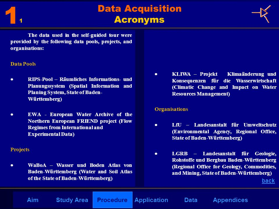 AppendicesAimDataStudy AreaProcedureApplication  KLIWA – Projekt Klimaänderung und Konsequenzen für die Wasserwirtschaft (Climatic Change and Impact on Water Resources Management) Organisations  LfU – Landesanstalt für Umweltschutz (Environmental Agency, Regional Office, State of Baden-Württemberg)  LGRB – Landesanstalt für Geologie, Rohstoffe und Bergbau Baden-Württemberg (Regional Office for Geology, Commodities, and Mining, State of Baden-Württemberg) The data used in the self-guided tour were provided by the following data pools, projects, and organisations: Data Pools  RIPS-Pool – Räumliches Informations- und Planungssystem (Spatial Information and Planing System, State of Baden- Württemberg)  EWA - European Water Archive of the Northern European FRIEND project (Flow Regimes from International and Experimental Data) Projects  WaBoA – Wasser und Boden Atlas von Baden-Württemberg (Water and Soil Atlas of the State of Baden-Württemberg) back Data Acquisition Acronyms 1 1 Procedure