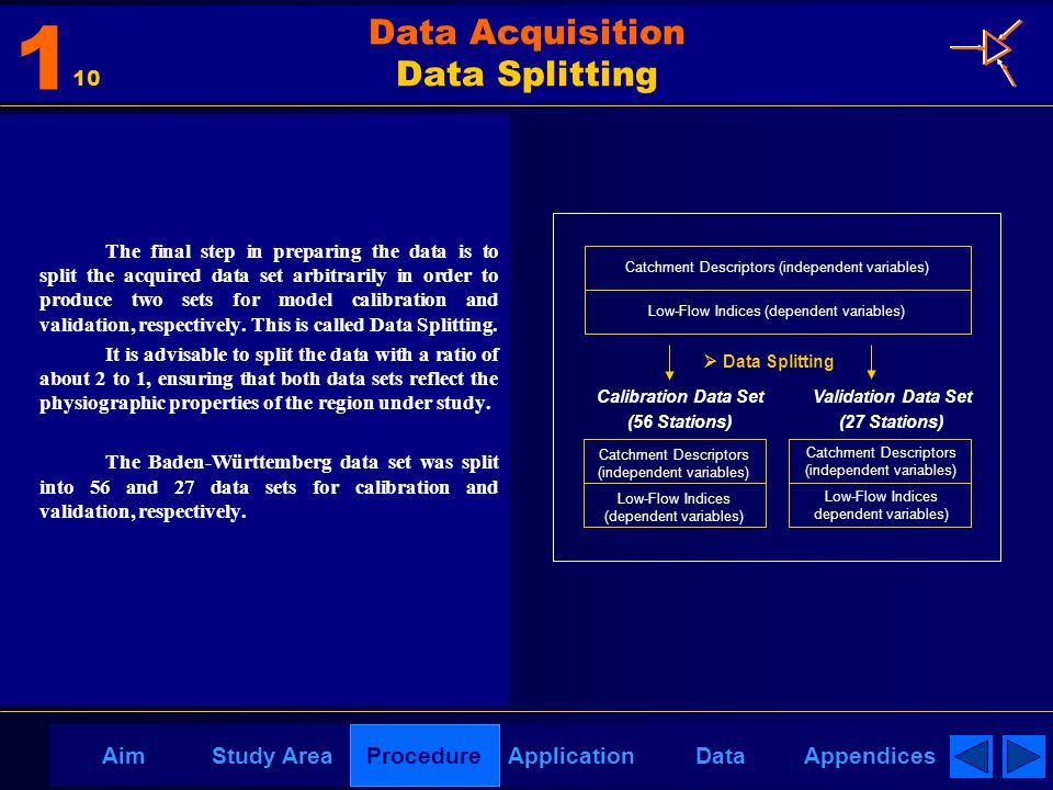 AppendicesAimDataStudy AreaProcedureApplication Data Acquisition Data Splitting The final step in preparing the data is to split the acquired data set arbitrarily in order to produce two sets for model calibration and validation, respectively.