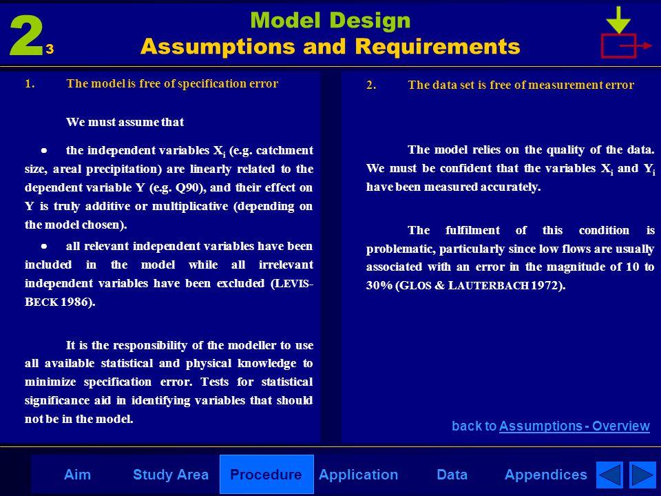 AppendicesAimDataStudy AreaProcedureApplication Model Design Assumptions and Requirements 1. The model is free of specification error We must assume t