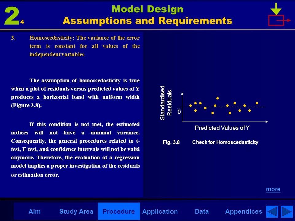 AppendicesAimDataStudy AreaProcedureApplication Model Design Assumptions and Requirements 3. Homoscedasticity: The variance of the error term is const