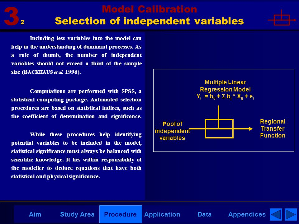 AppendicesAimDataStudy AreaProcedureApplication Model Calibration Selection of independent variables 3 Including less variables into the model can hel