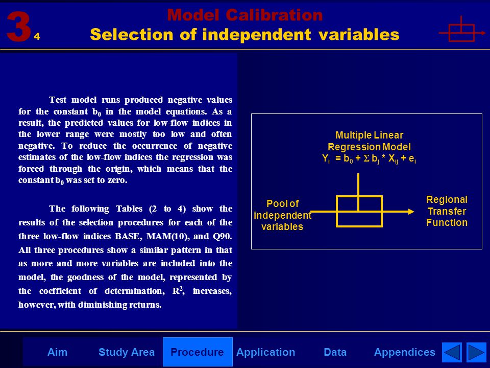 AppendicesAimDataStudy AreaProcedureApplication Model Calibration Selection of independent variables 3 Test model runs produced negative values for the constant b 0 in the model equations.