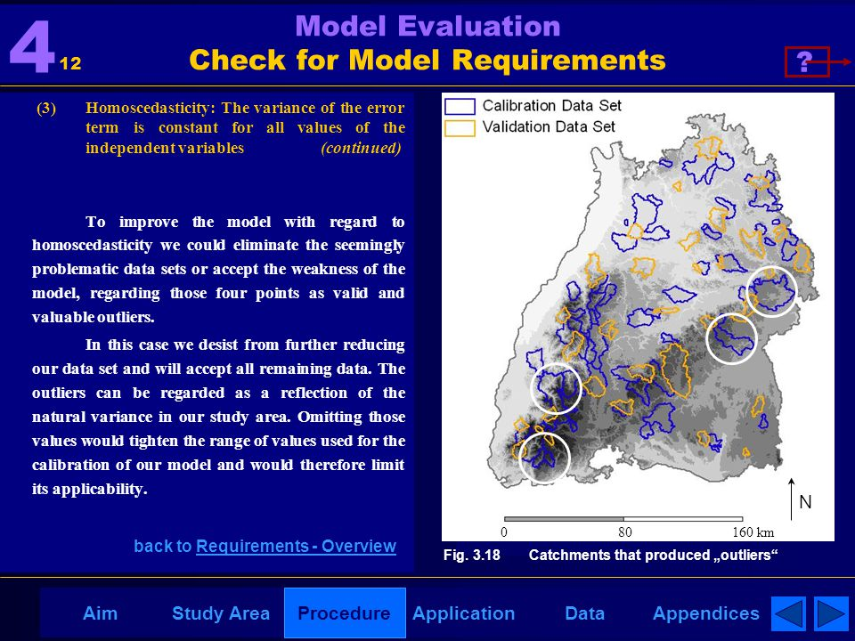 AppendicesAimDataStudy AreaProcedureApplication Model Evaluation Check for Model Requirements (3) Homoscedasticity: The variance of the error term is constant for all values of the independent variables (continued) To improve the model with regard to homoscedasticity we could eliminate the seemingly problematic data sets or accept the weakness of the model, regarding those four points as valid and valuable outliers.