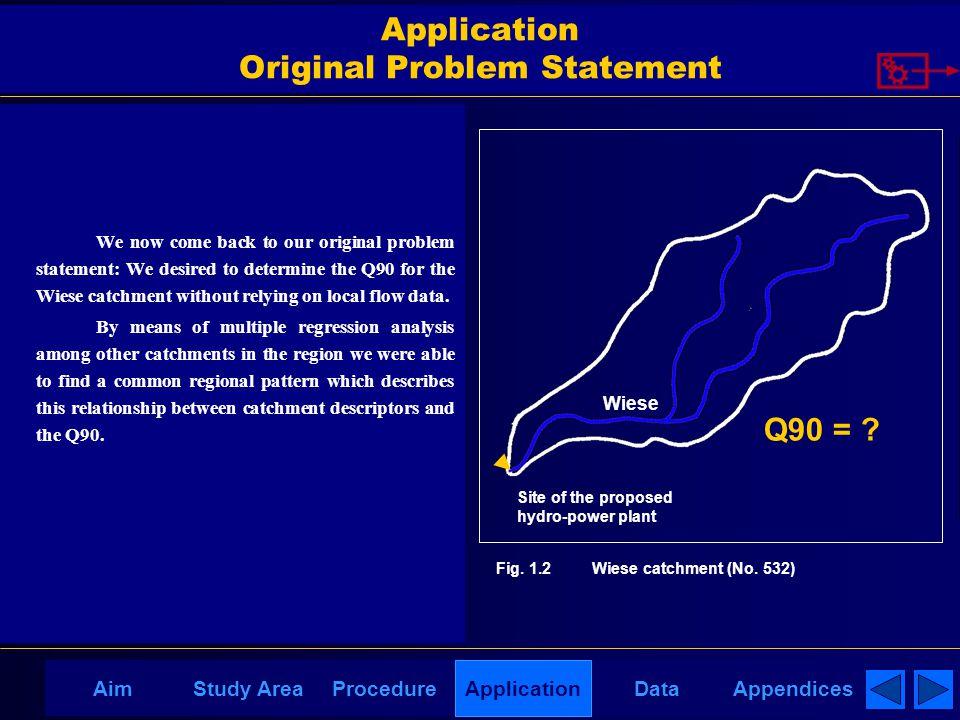 AppendicesAimDataStudy AreaProcedureApplication Application Original Problem Statement We now come back to our original problem statement: We desired