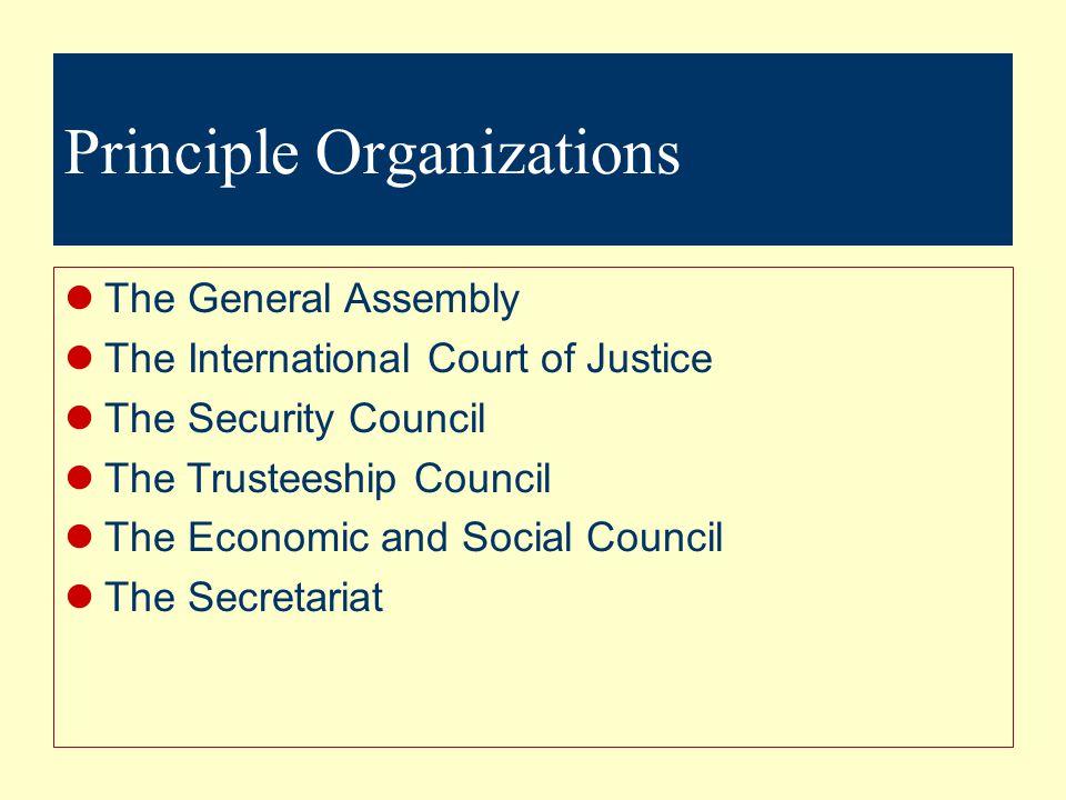 General Assembly Security Council IACB ACC UNDP ESC UNCESD UNCITRAL UNICEF UNITAR WFP FAO UNESCO ICAO IFAD ILO IMO IMF ITU IBRD IDA UNIDO IFC UPU WHO WMO IAEAWTO