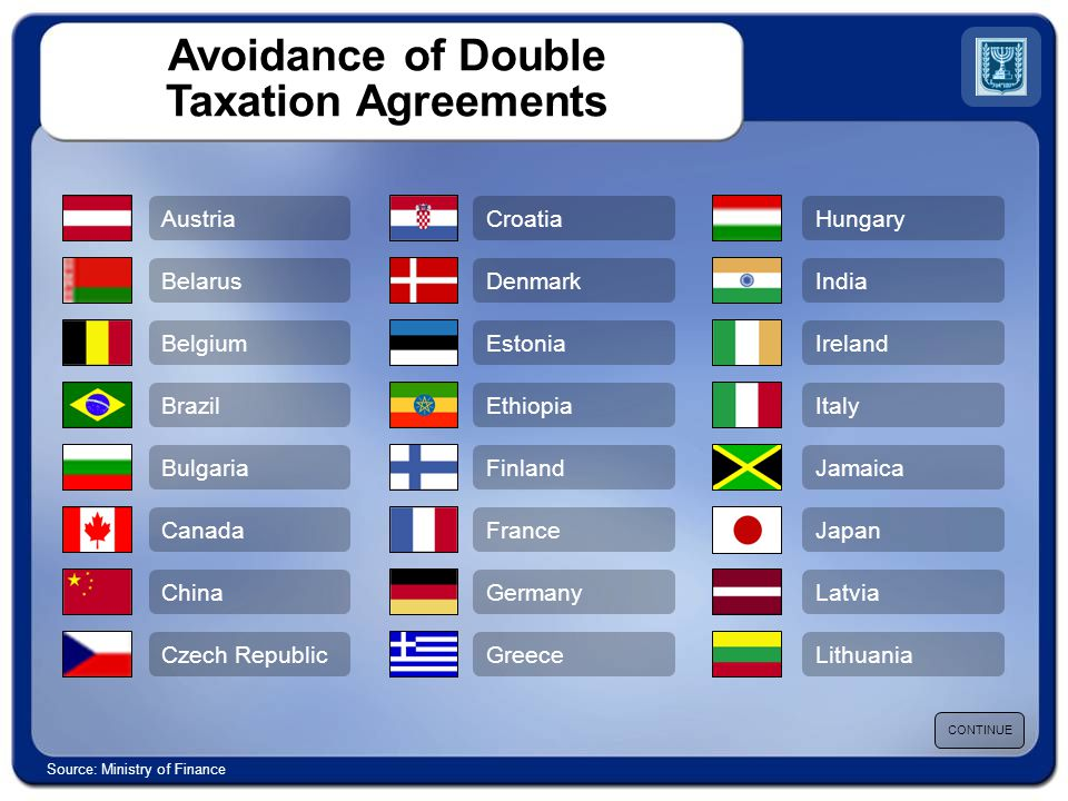 Avoidance of Double Taxation Agreements Austria Belarus Belgium Brazil Bulgaria Canada China Czech Republic Croatia Denmark Estonia Ethiopia Finland France Germany Greece Hungary India Ireland Italy Jamaica Japan Latvia Lithuania CONTINUE Source: Ministry of Finance