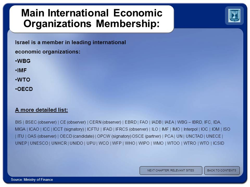 Main International Economic Organizations Membership: Israel is a member in leading international economic organizations: WBG IMF WTO OECD A more detailed list: BIS | BSEC (observer) | CE (observer) | CERN (observer) | EBRD | FAO | IADB | IAEA | WBG – IBRD, IFC, IDA, MIGA | ICAO | ICC | ICCT (signatory) | ICFTU | IFAD | IFRCS (observer) | ILO | IMF | IMO | Interpol | IOC | IOM | ISO | ITU | OAS (observer) | OECD (candidate) | OPCW (signatory) OSCE (partner) | PCA | UN | UNCTAD | UNECE | UNEP | UNESCO | UNHCR | UNIDO | UPU | WCO | WFP | WHO | WIPO | WMO | WTOO | WTRO | WTO | ICSID NEXT CHAPTER: RELEVANT SITESBACK TO CONTENTS Source: Ministry of Finance
