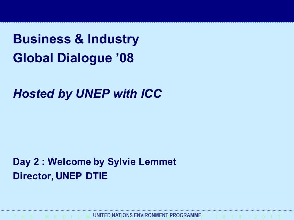 T H E M E D I U M – T E R M S T R A T E G Y 2 0 1 0 – 2 0 1 3 UNITED NATIONS ENVIRONMENT PROGRAMME Business & Industry Global Dialogue '08 Hosted by UNEP with ICC Day 2 : Welcome by Sylvie Lemmet Director, UNEP DTIE